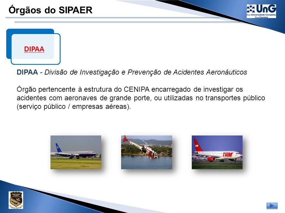 Órgãos do SIPAER DIPAA. DIPAA - Divisão de Investigação e Prevenção de Acidentes Aeronáuticos.