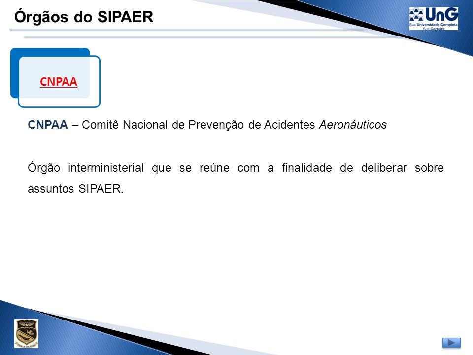 Órgãos do SIPAER CNPAA. CNPAA – Comitê Nacional de Prevenção de Acidentes Aeronáuticos.