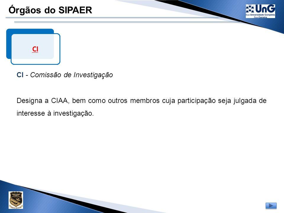 Órgãos do SIPAER CI CI - Comissão de Investigação