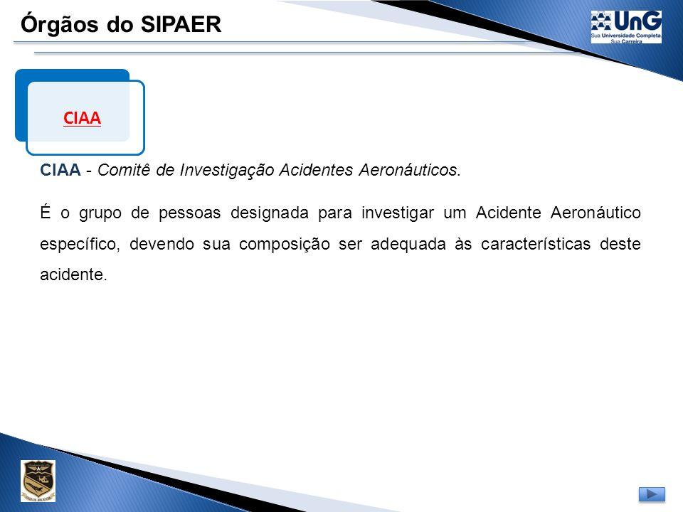 Órgãos do SIPAER CIAA. CIAA - Comitê de Investigação Acidentes Aeronáuticos.