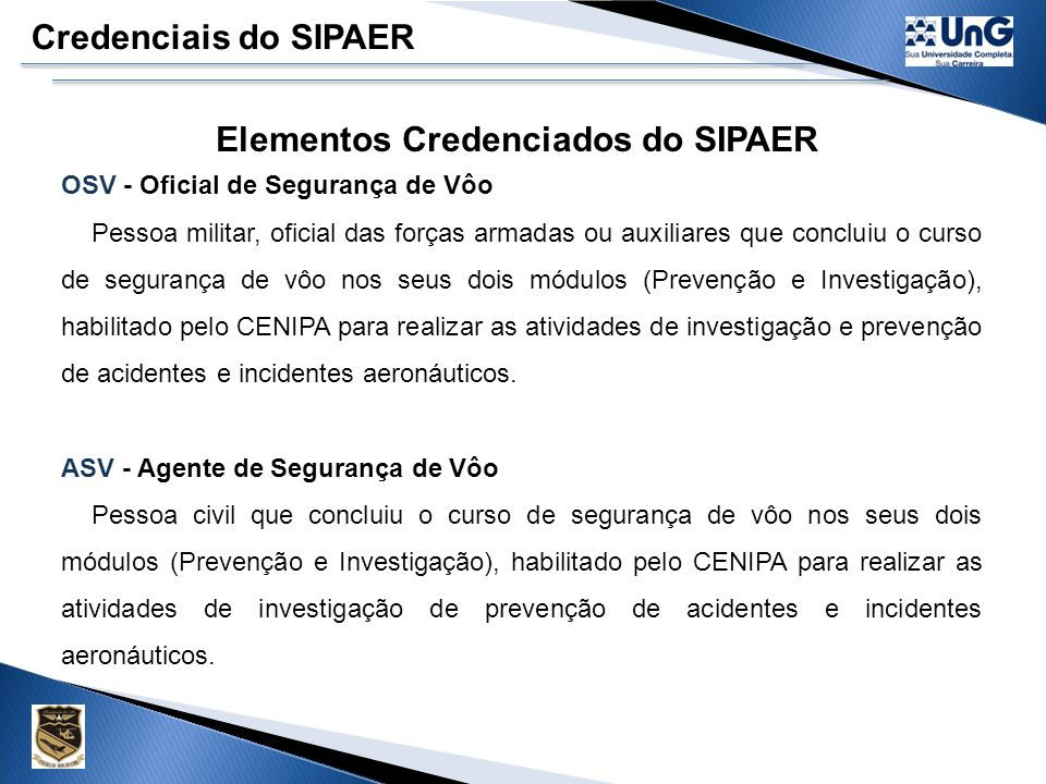 Elementos Credenciados do SIPAER