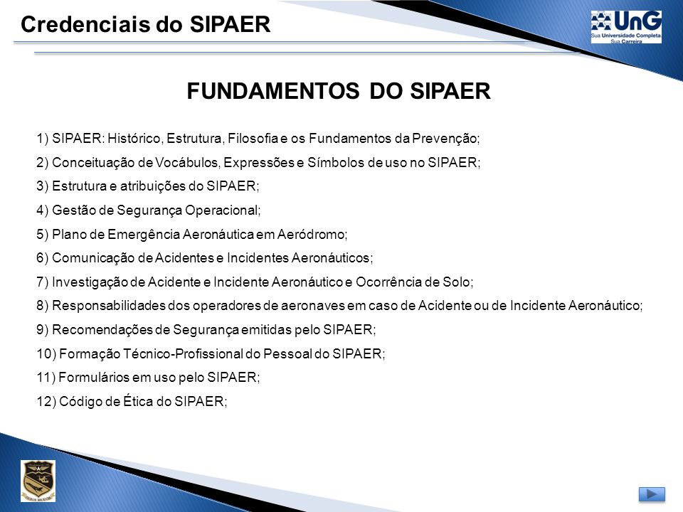 Credenciais do SIPAER FUNDAMENTOS DO SIPAER