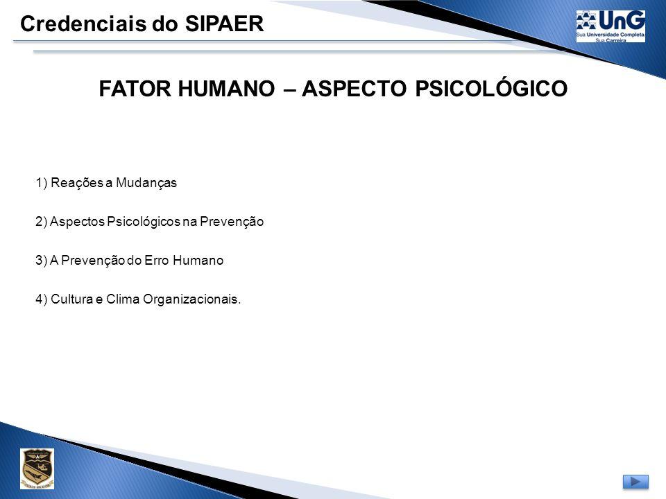 FATOR HUMANO – ASPECTO PSICOLÓGICO