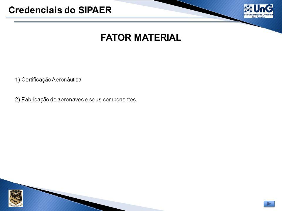 Credenciais do SIPAER FATOR MATERIAL 1) Certificação Aeronáutica