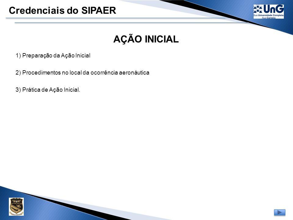 Credenciais do SIPAER AÇÃO INICIAL 1) Preparação da Ação Inicial