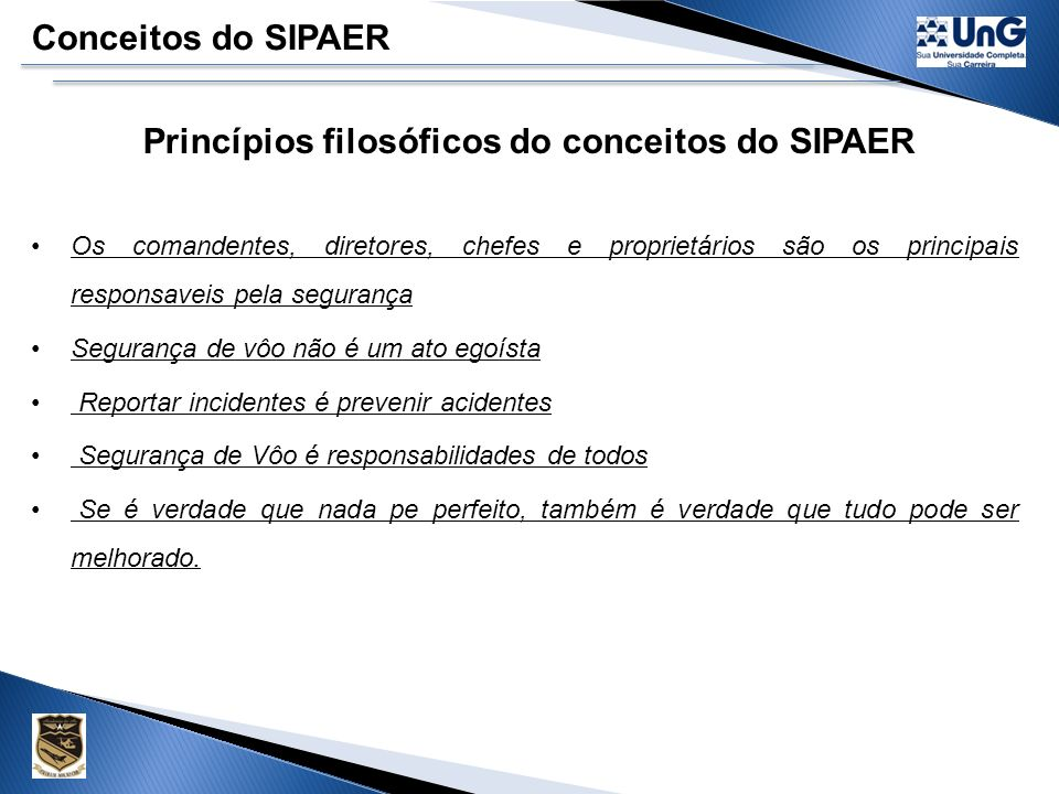 Princípios filosóficos do conceitos do SIPAER