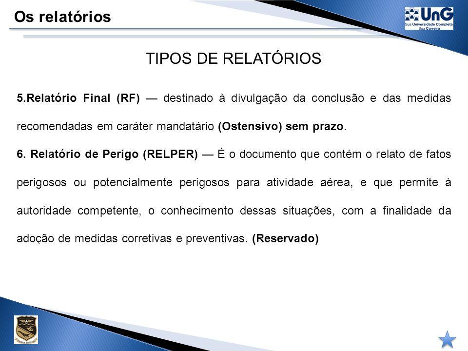 Os relatórios TIPOS DE RELATÓRIOS