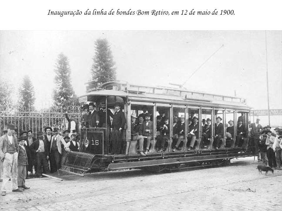 Inauguração da linha de bondes Bom Retiro, em 12 de maio de 1900.