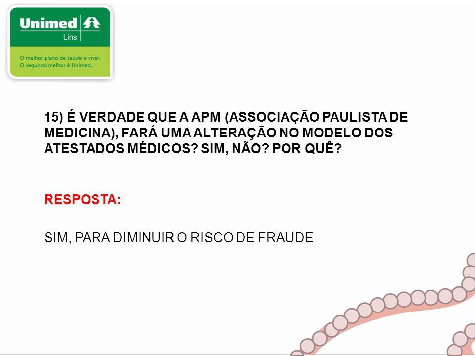 RESPOSTA: SIM, PARA DIMINUIR O RISCO DE FRAUDE