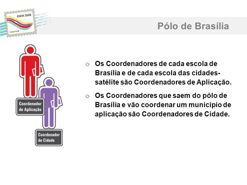 Pólo de Brasília Os Coordenadores de cada escola de Brasília e de cada escola das cidades- satélite são Coordenadores de Aplicação.