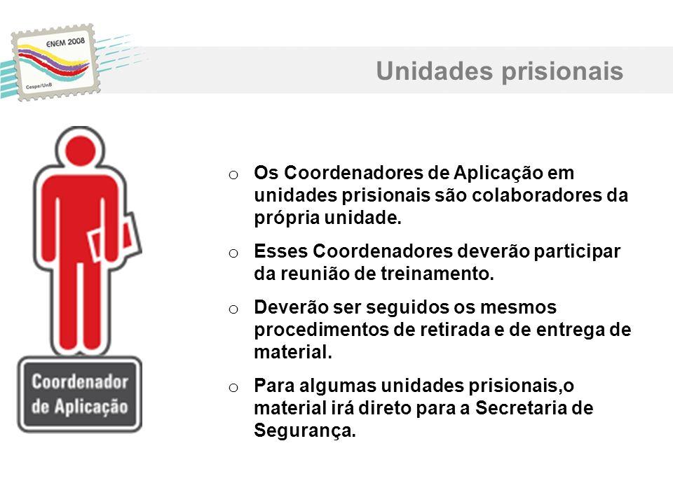 Unidades prisionais Os Coordenadores de Aplicação em unidades prisionais são colaboradores da própria unidade.