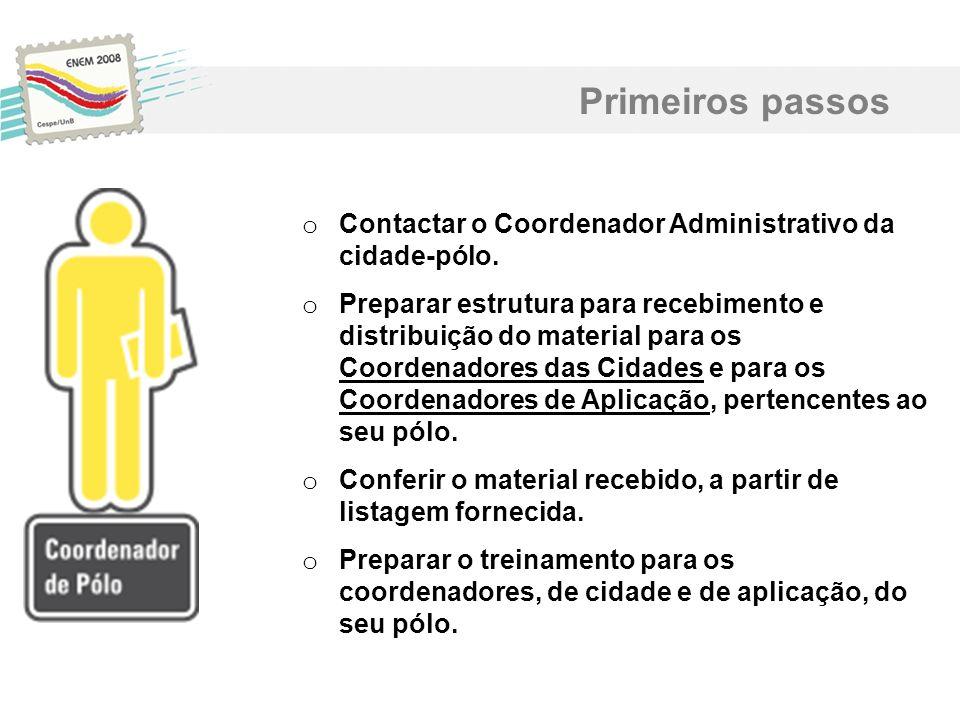 Primeiros passos Contactar o Coordenador Administrativo da cidade-pólo.