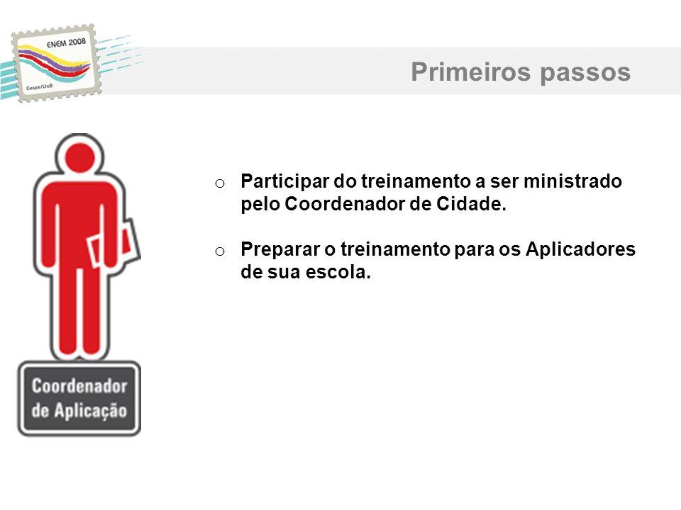 Primeiros passos Participar do treinamento a ser ministrado pelo Coordenador de Cidade.