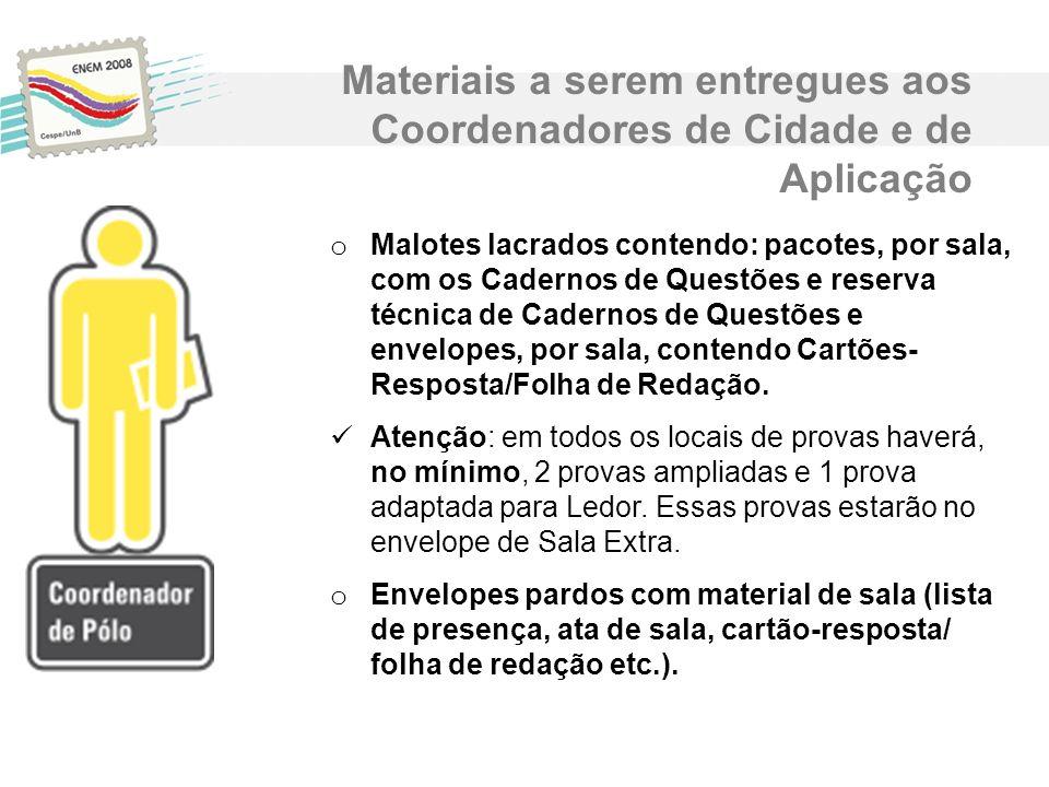 Materiais a serem entregues aos Coordenadores de Cidade e de Aplicação