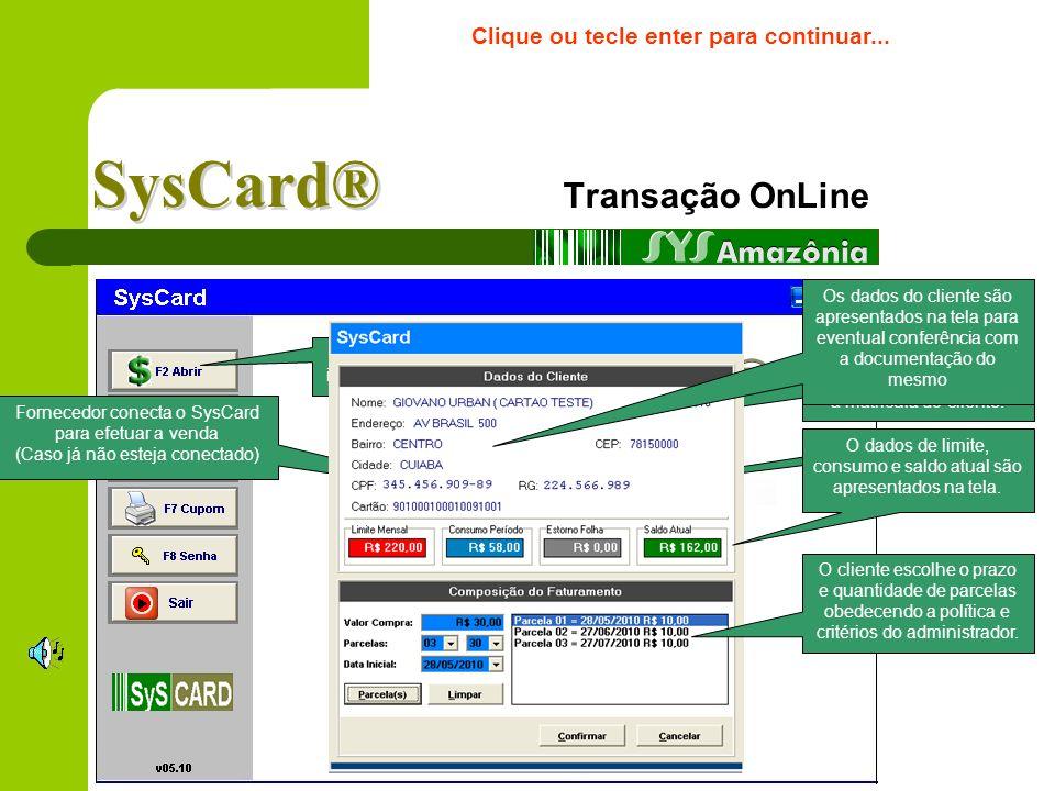 SysCard® Transação OnLine Simulação