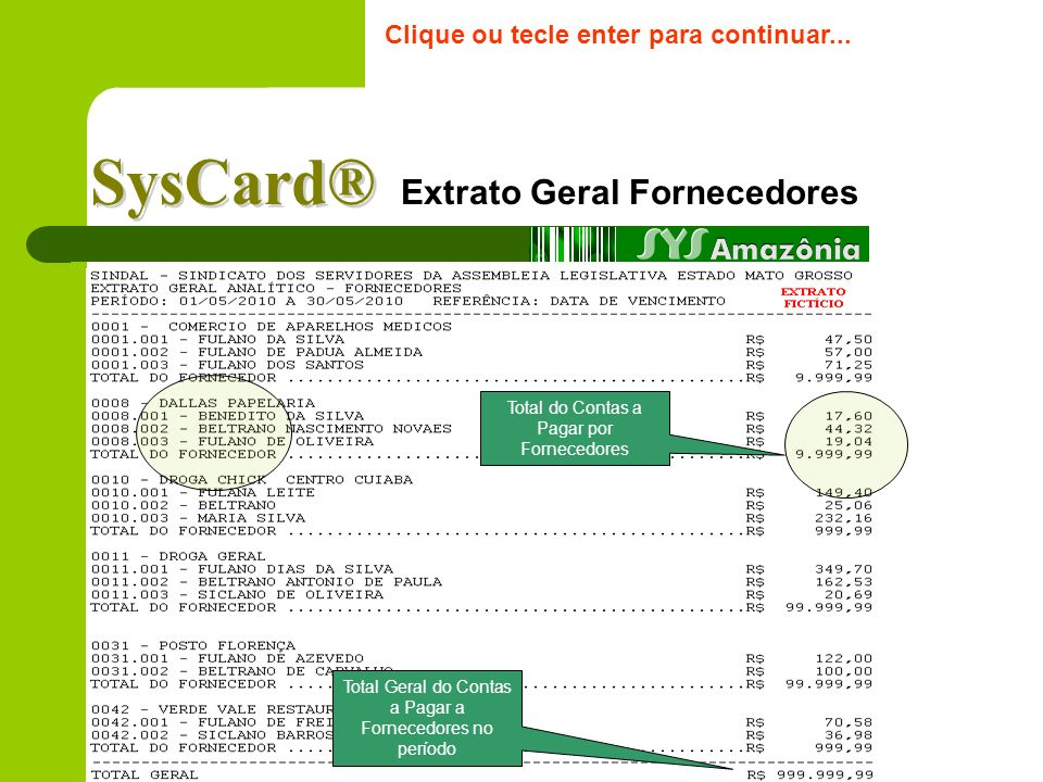 Extrato Geral Fornecedores