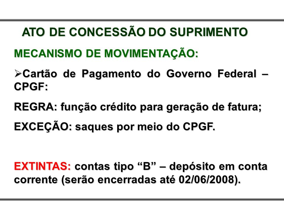ATO DE CONCESSÃO DO SUPRIMENTO