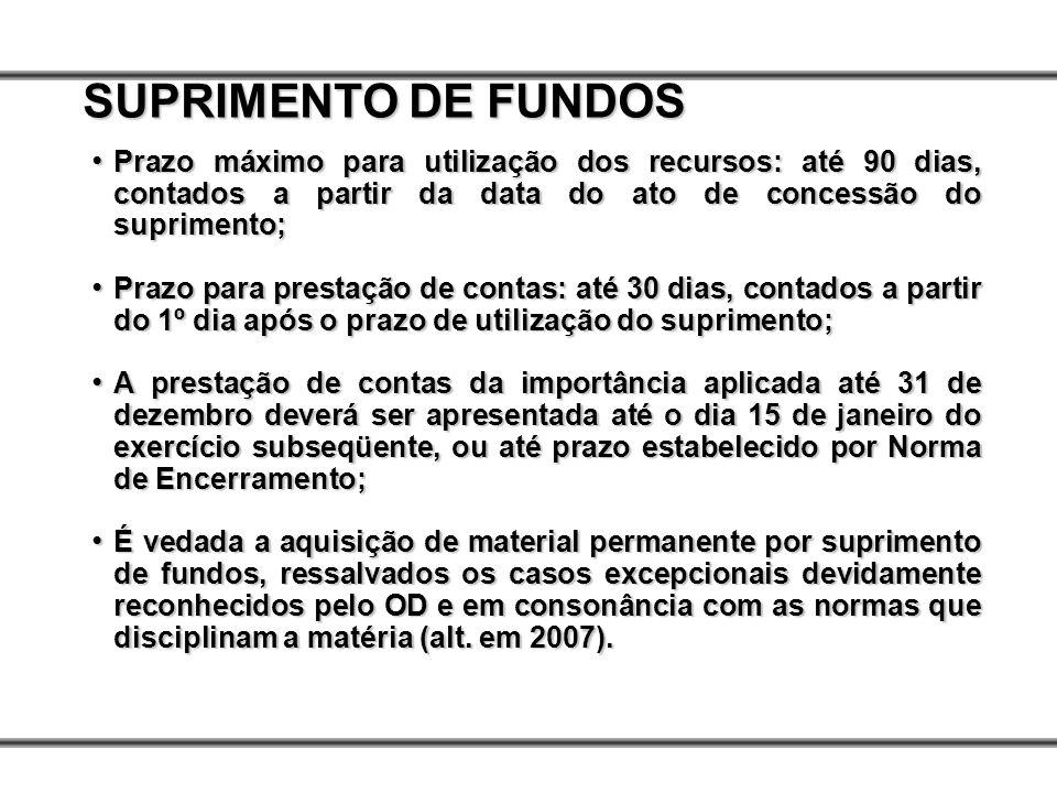 SUPRIMENTO DE FUNDOS Prazo máximo para utilização dos recursos: até 90 dias, contados a partir da data do ato de concessão do suprimento;