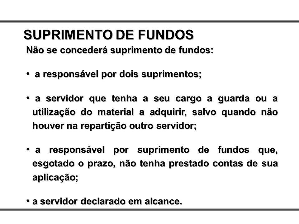 SUPRIMENTO DE FUNDOS Não se concederá suprimento de fundos: