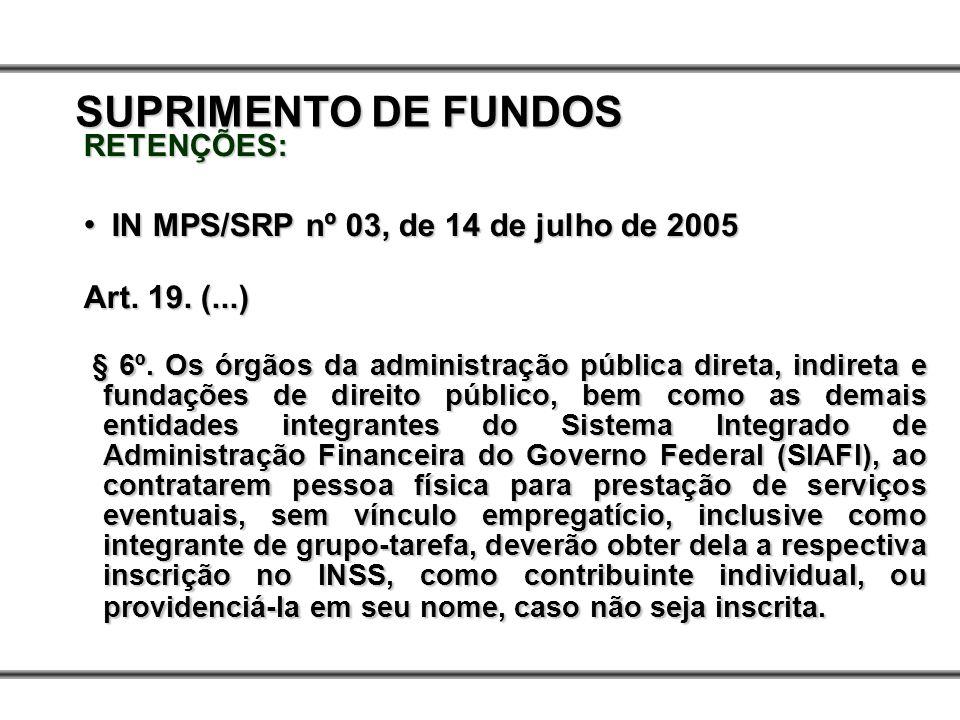 SUPRIMENTO DE FUNDOS Art. 19. (...)