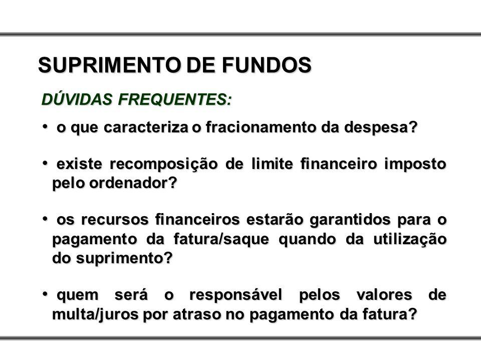 SUPRIMENTO DE FUNDOS DÚVIDAS FREQUENTES: