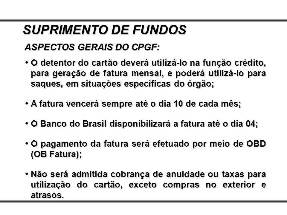 SUPRIMENTO DE FUNDOS ASPECTOS GERAIS DO CPGF: