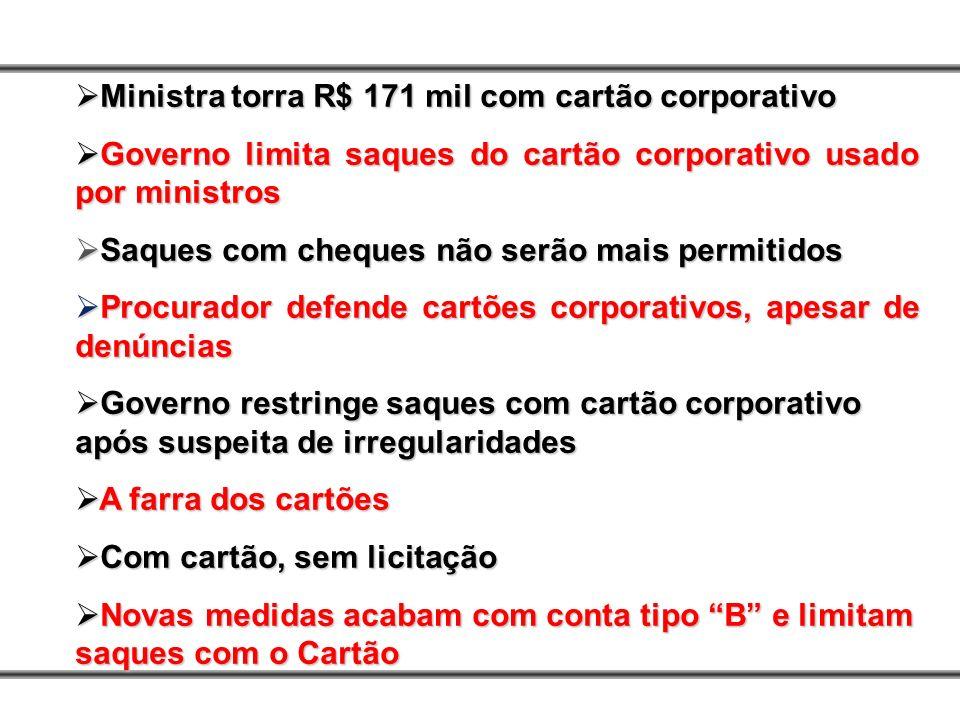 Ministra torra R$ 171 mil com cartão corporativo