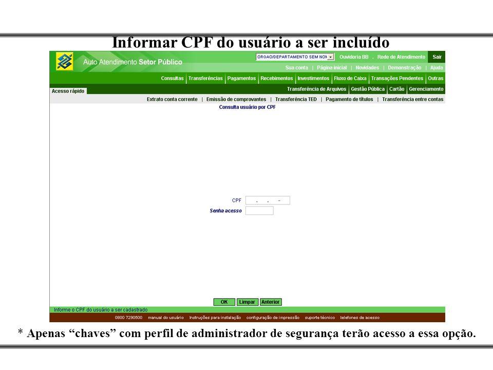 Informar CPF do usuário a ser incluído