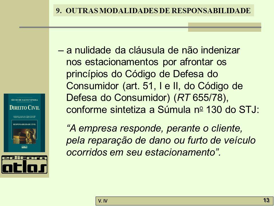 – a nulidade da cláusula de não indenizar nos estacionamentos por afrontar os princípios do Código de Defesa do Consumidor (art. 51, I e II, do Código de Defesa do Consumidor) (RT 655/78), conforme sintetiza a Súmula no 130 do STJ: