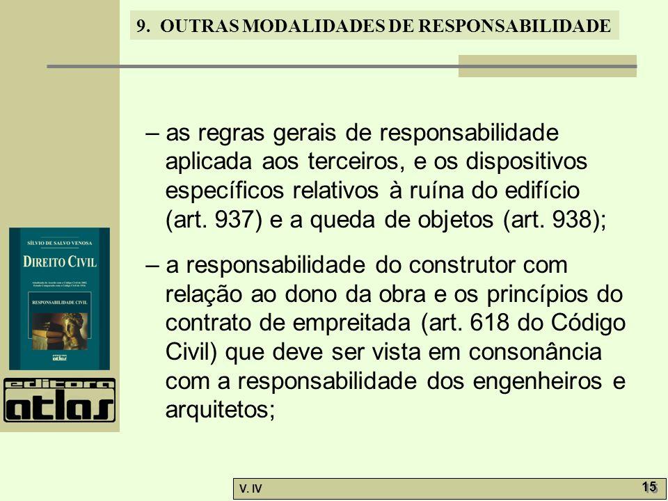 – as regras gerais de responsabilidade aplicada aos terceiros, e os dispositivos específicos relativos à ruína do edifício (art. 937) e a queda de objetos (art. 938);