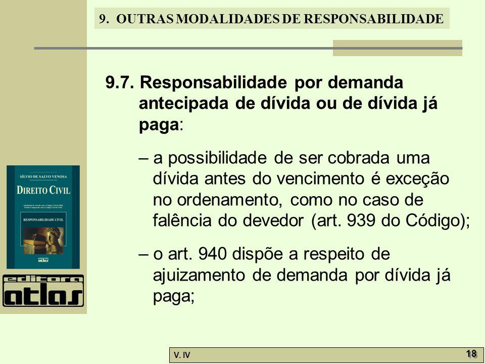 9.7. Responsabilidade por demanda antecipada de dívida ou de dívida já paga: