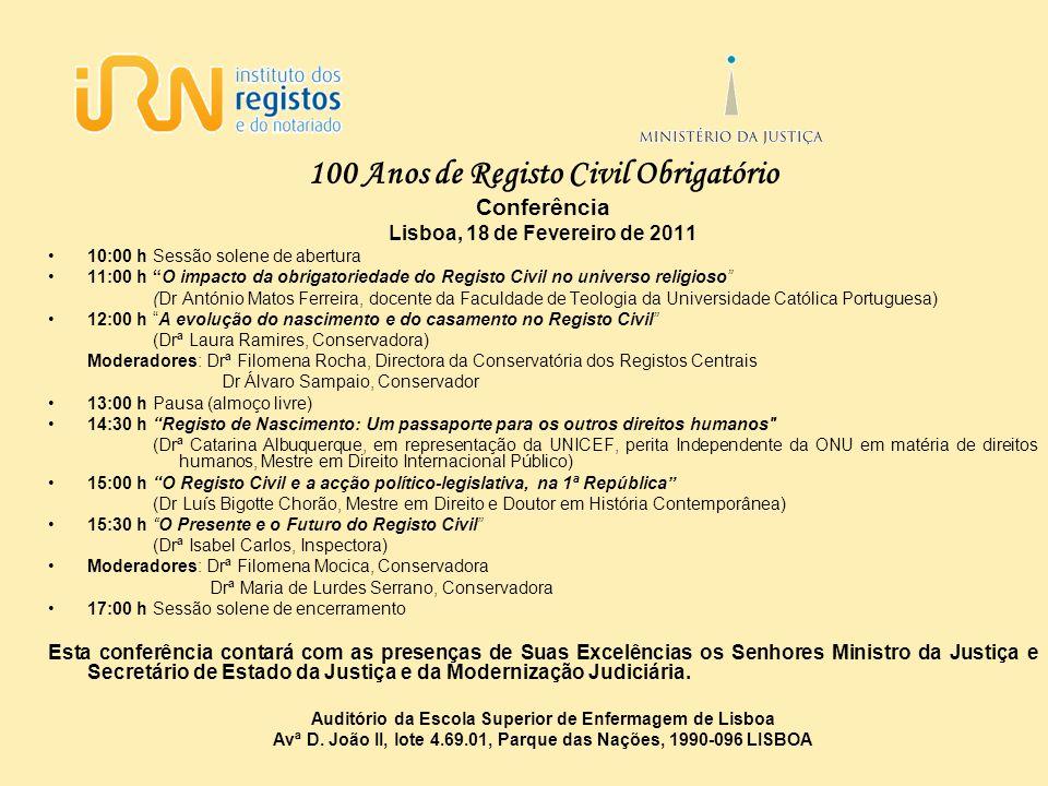 100 Anos de Registo Civil Obrigatório