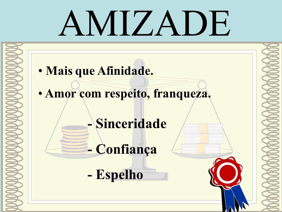 AMIZADE - Sinceridade - Confiança - Espelho Mais que Afinidade.