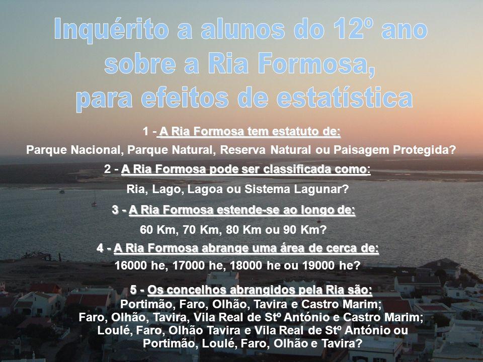 Inquérito a alunos do 12º ano sobre a Ria Formosa,