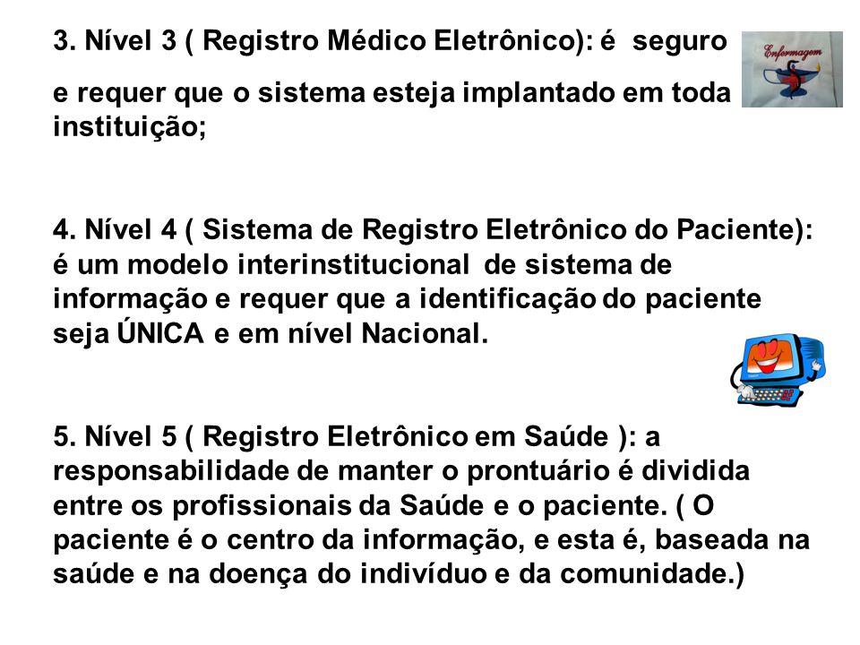 3. Nível 3 ( Registro Médico Eletrônico): é seguro
