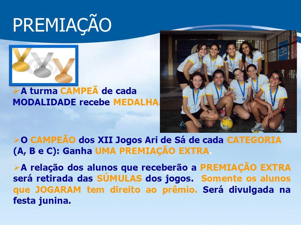 PREMIAÇÃO A turma CAMPEÃ de cada MODALIDADE recebe MEDALHA.