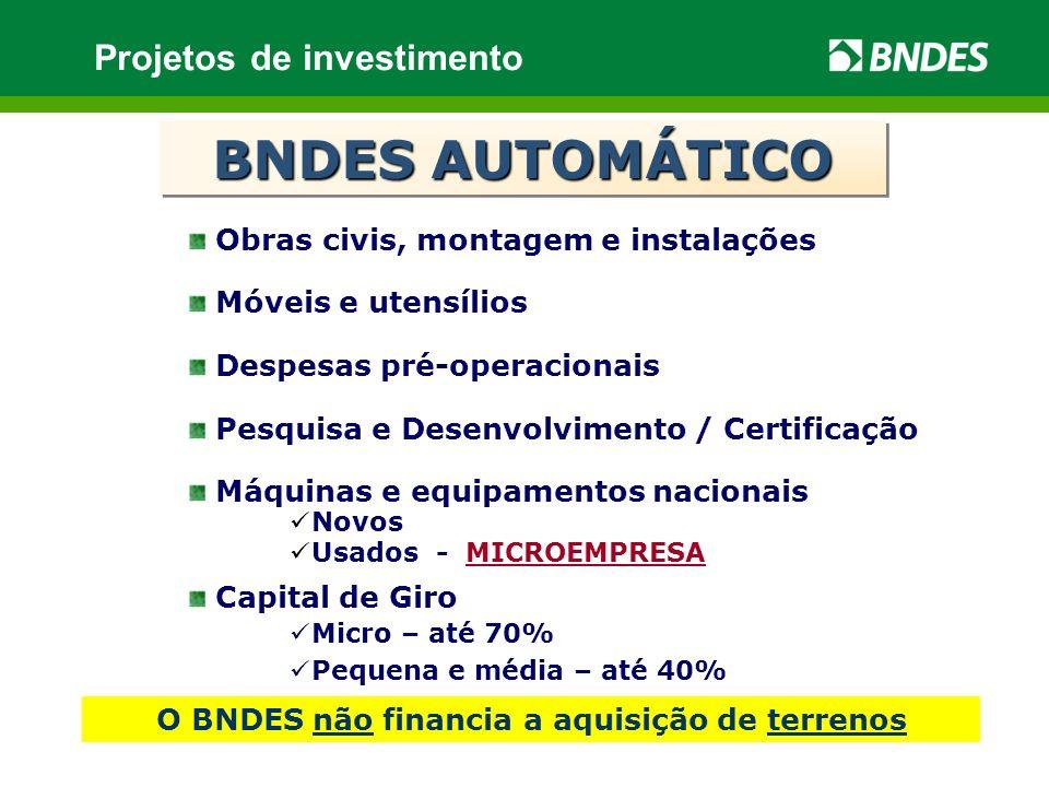 O BNDES não financia a aquisição de terrenos