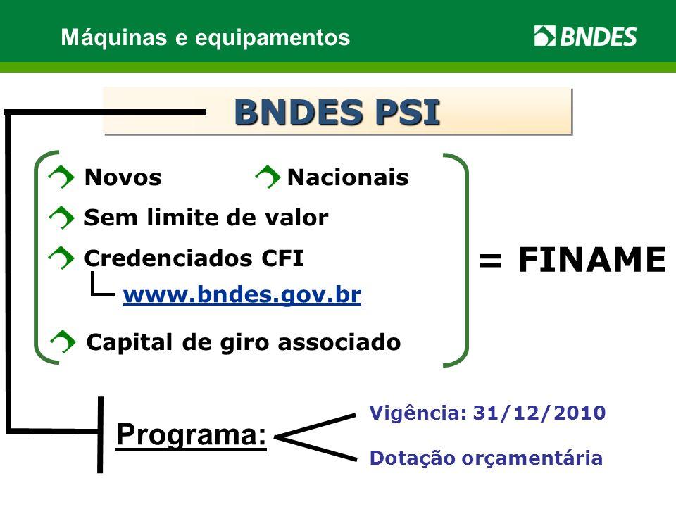BNDES PSI = FINAME Programa: Máquinas e equipamentos Novos Nacionais