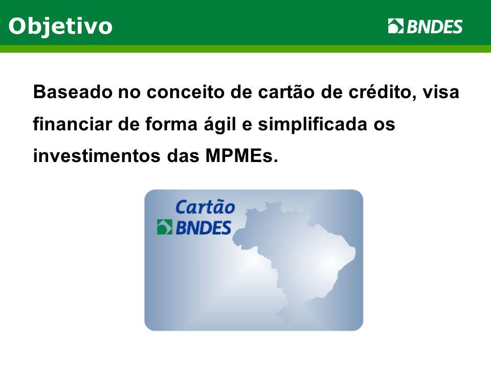 Objetivo Baseado no conceito de cartão de crédito, visa financiar de forma ágil e simplificada os investimentos das MPMEs.