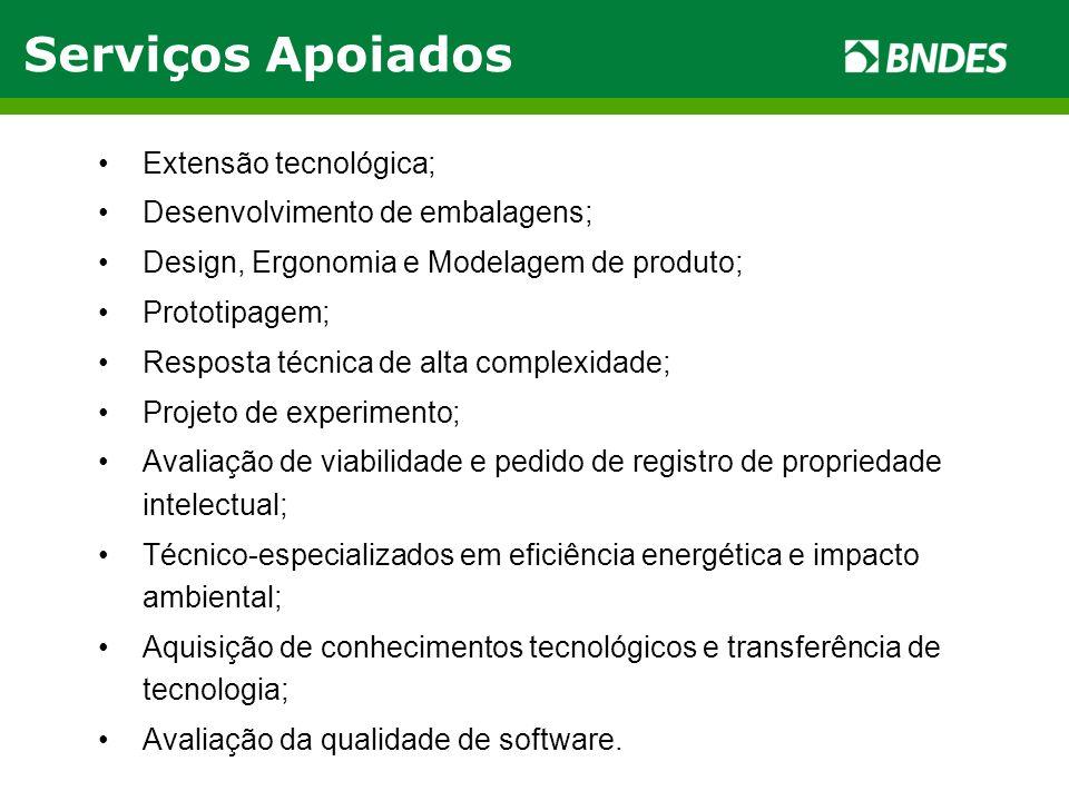 Serviços Apoiados Extensão tecnológica; Desenvolvimento de embalagens;