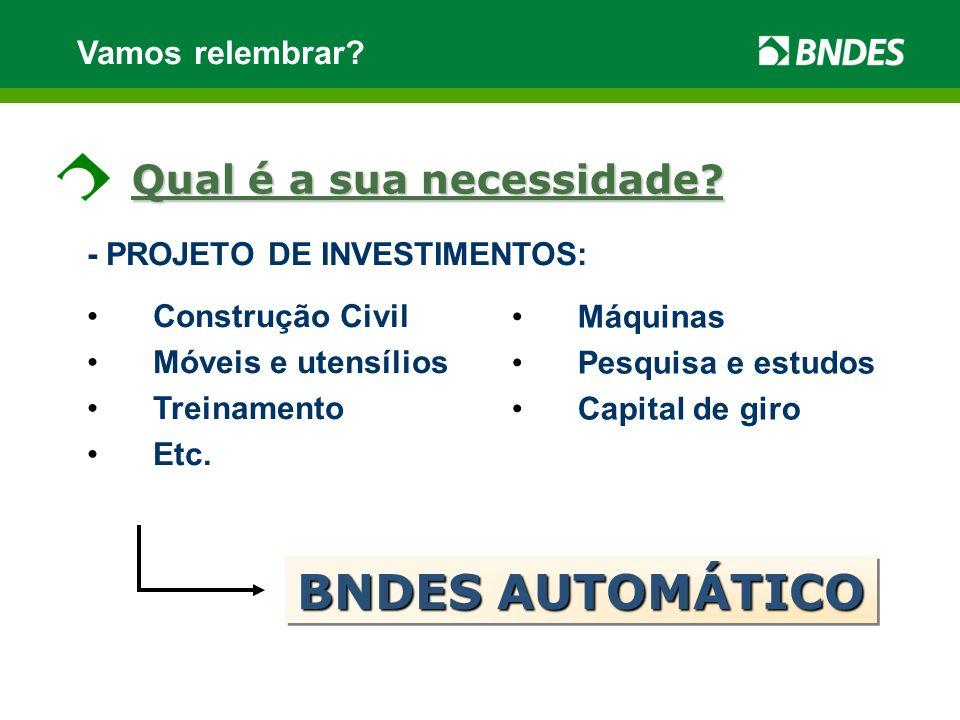 BNDES AUTOMÁTICO Qual é a sua necessidade Vamos relembrar