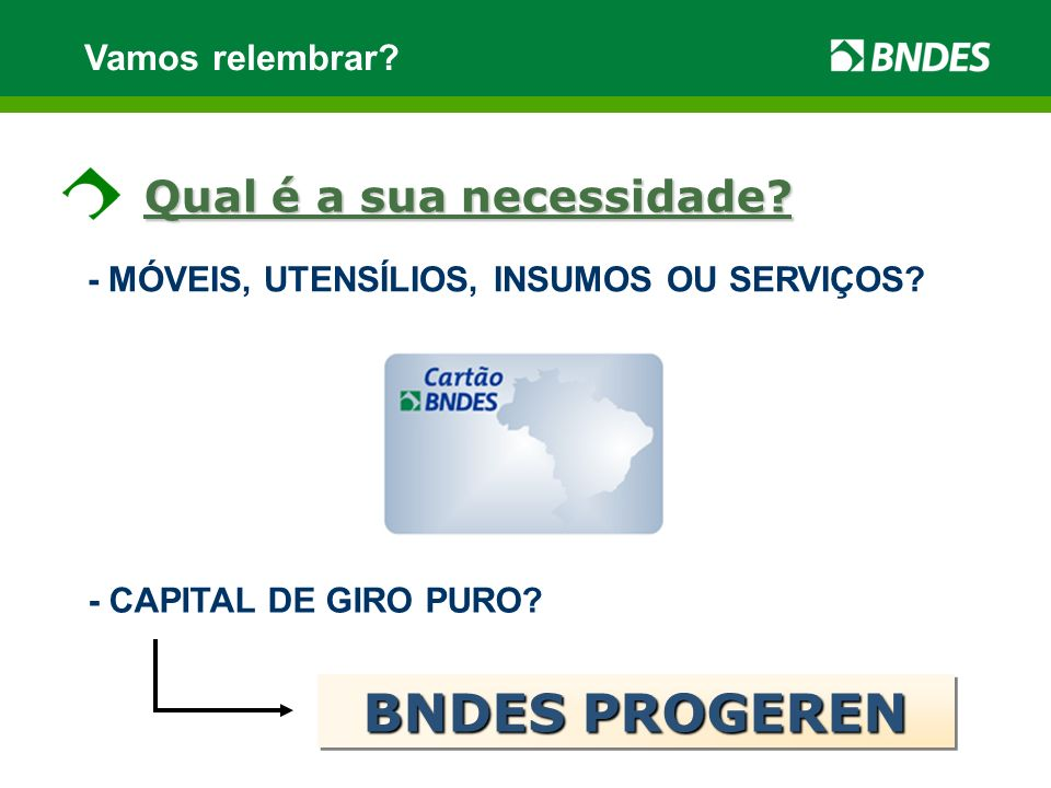 BNDES PROGEREN Qual é a sua necessidade Vamos relembrar