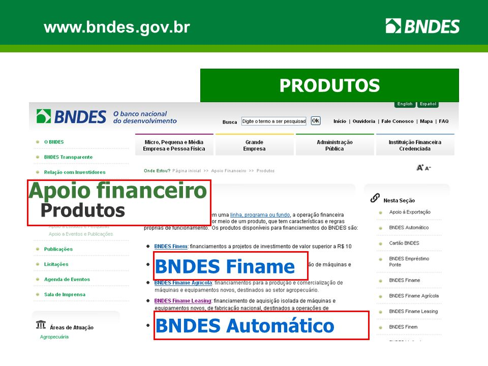 Apoio financeiro BNDES Finame BNDES Automático PRODUTOS