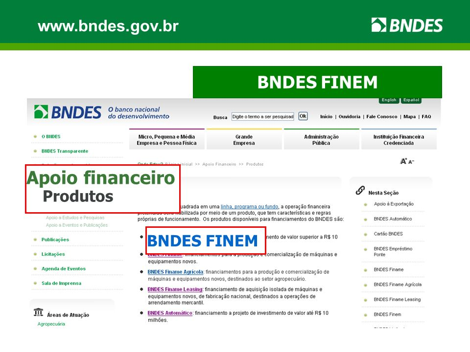 www.bndes.gov.br BNDES FINEM Apoio financeiro Produtos BNDES FINEM