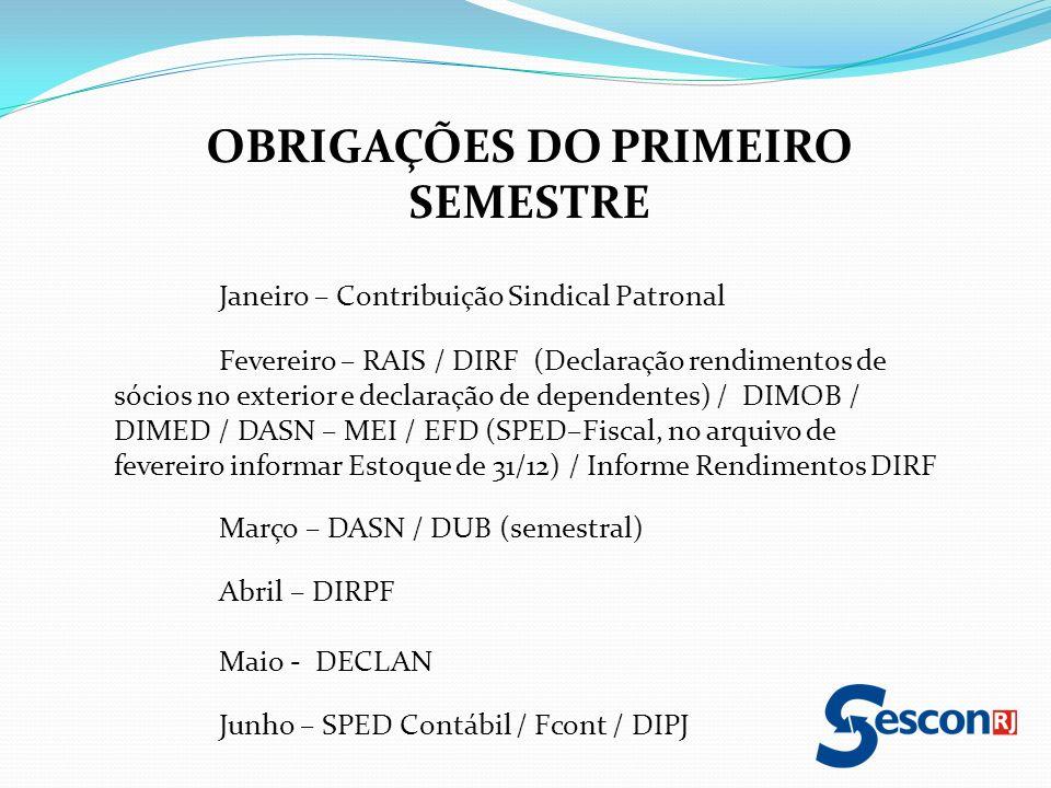 OBRIGAÇÕES DO PRIMEIRO SEMESTRE