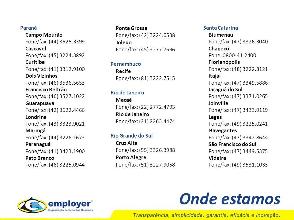 Onde estamos Paraná Campo Mourão Fone/fax: (44) 3525.3399 Cascavel