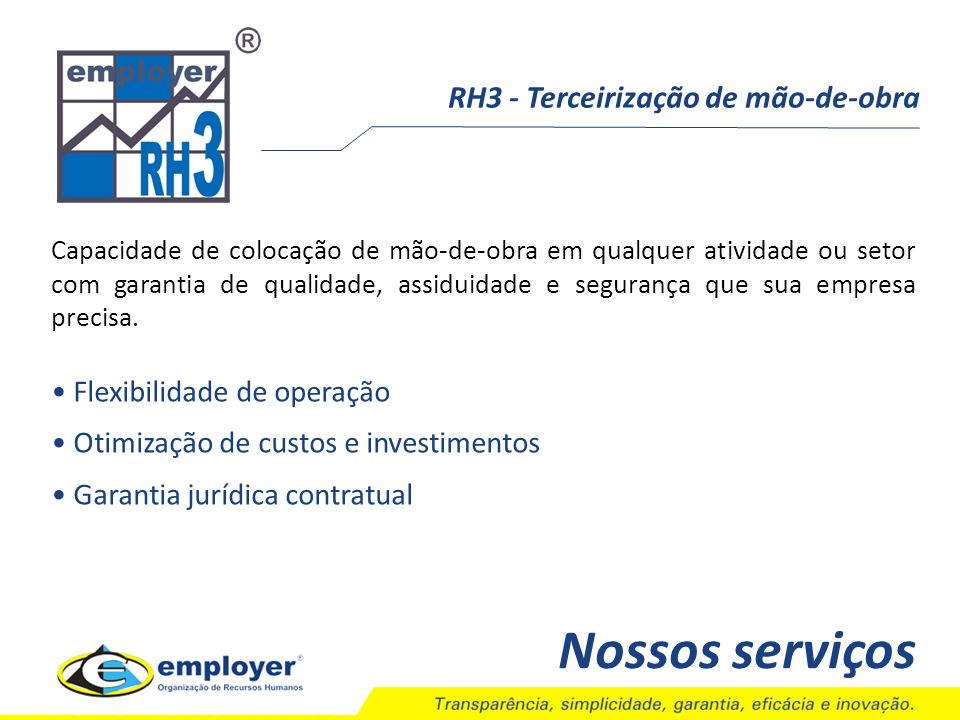 Nossos serviços RH3 - Terceirização de mão-de-obra