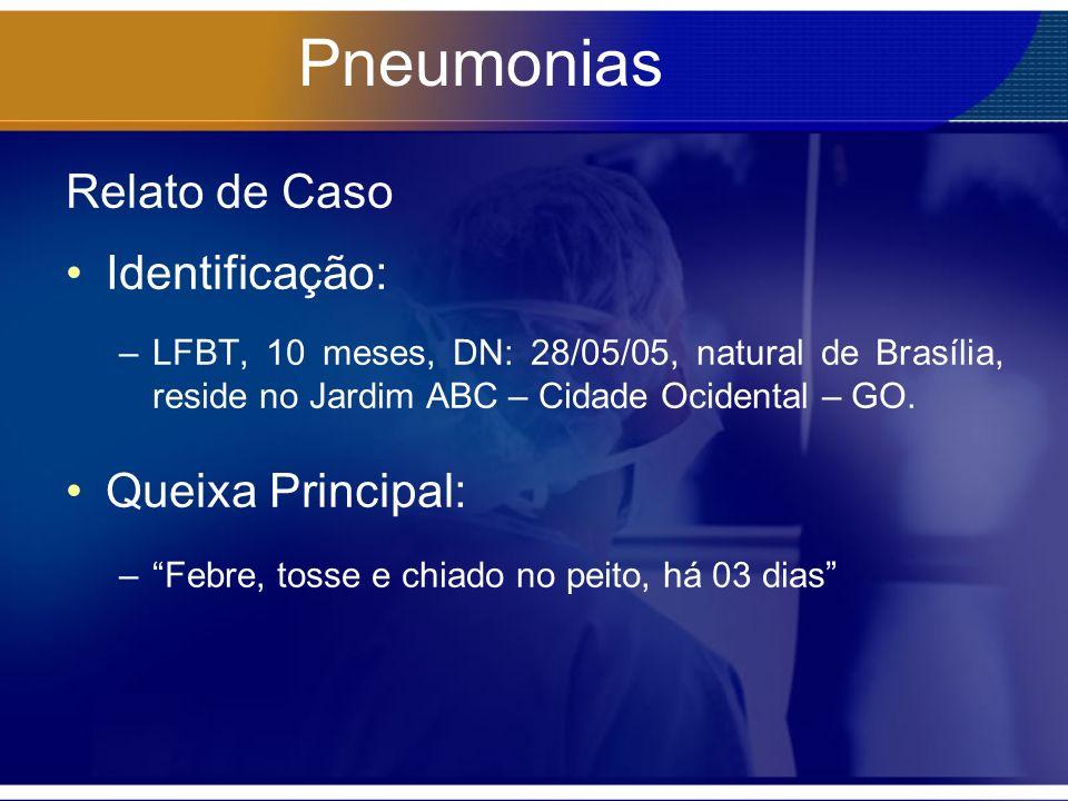 Pneumonias Relato de Caso Identificação: Queixa Principal: