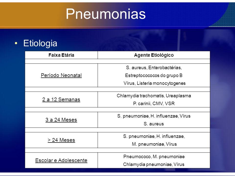 Pneumonias Etiologia Período Neonatal 2 a 12 Semanas 3 a 24 Meses