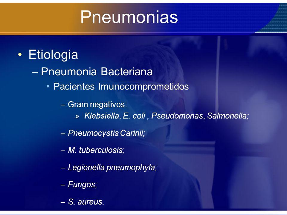 Pneumonias Etiologia Pneumonia Bacteriana Pacientes Imunocomprometidos